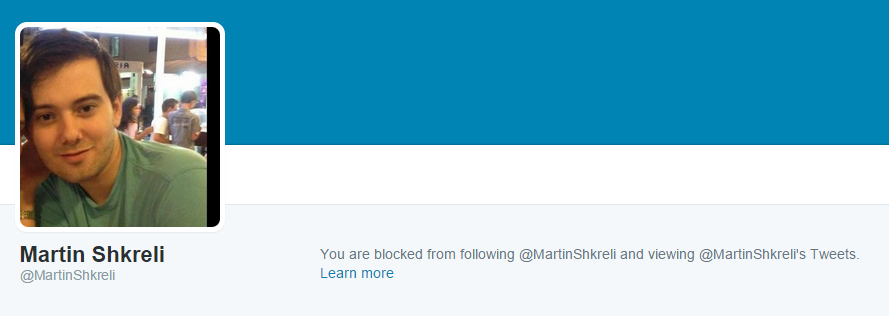 Alas, I can't. Shkreli has me blocked on Twitter for some reason.