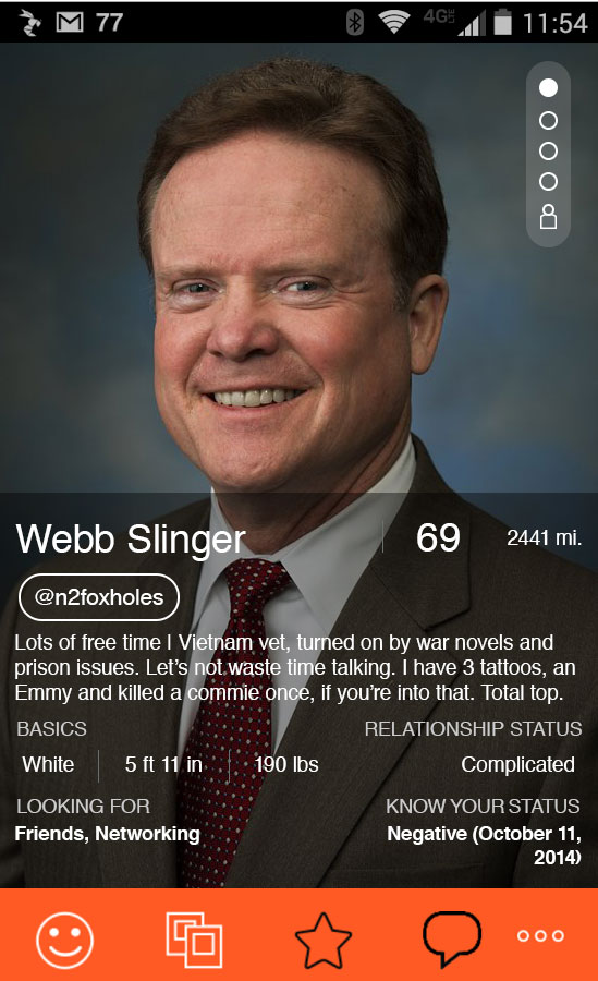 Jim Webb, democratic presidential candidate, Hornet, hook-up, profile
