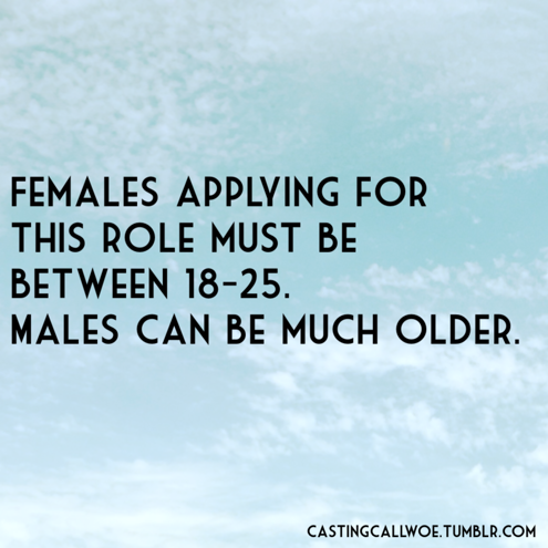 Men are allowed to age. Women are required to hurl themselves into a volcano once they reach the age of 26. (via)