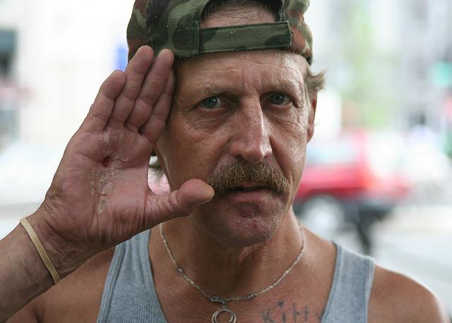 Homeless veteran in Dupont Circle, Washington, DC. Washington has the country's highest rate of veteran homelessness. photo via Elvert Barnes/Flickr)