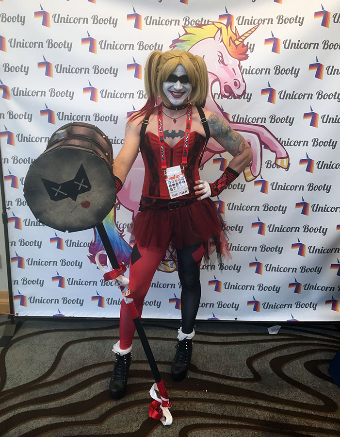 GaymerX, cosplay, video games, geek, costume, Harley Quinn, Batman