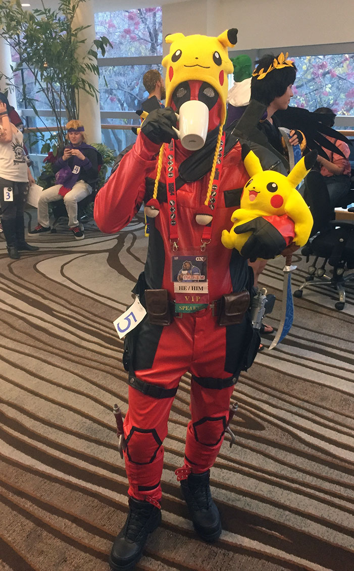 GaymerX, cosplay, video games, geek, costume, Deadpool, superhero, Pikachu