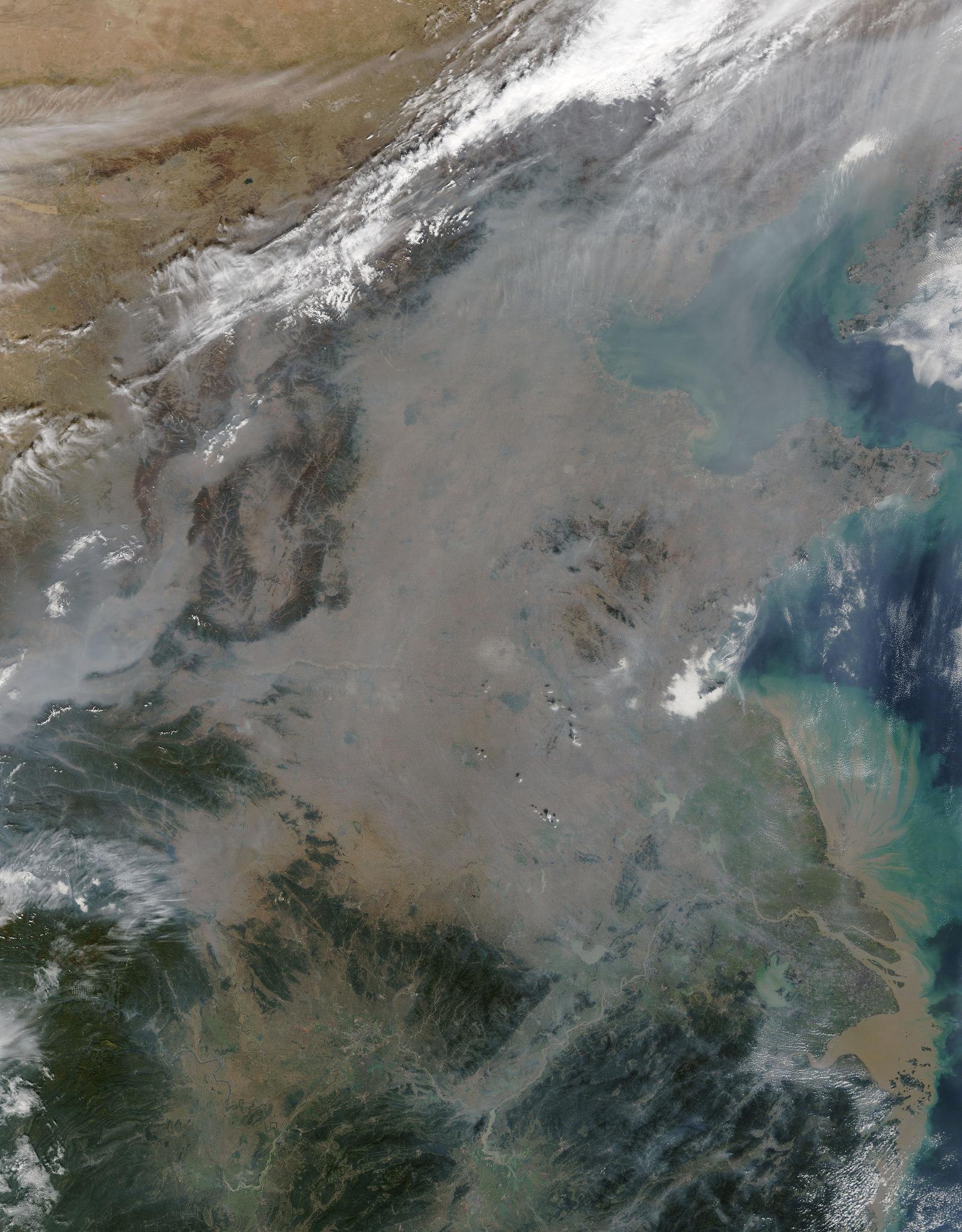 The Gray Death Cloud over Beijing seen from space in October. (via NASA Goddard Space Flight Center)