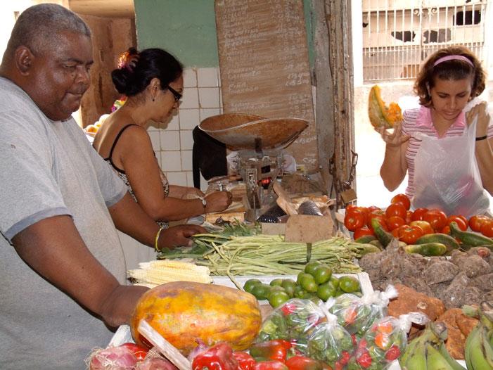 Havana, Cuba, market, produce, vegetables, market, clerk, sellers