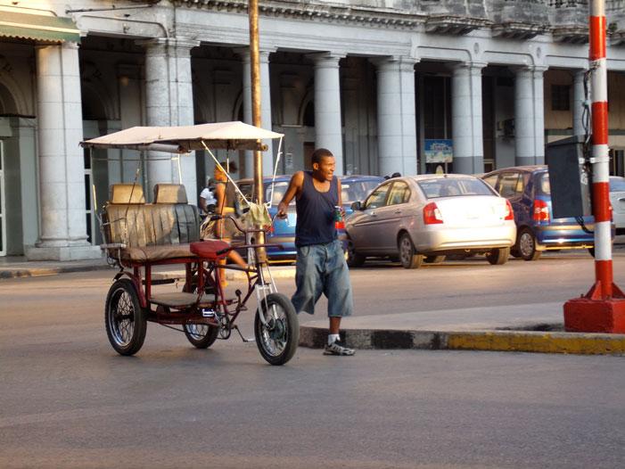 Cuba, rickshaw, bicycle, taxi, street, man, Havana