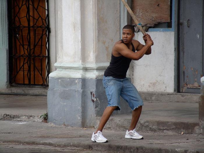 baseball, man, street, game, batter, Cuba, Havana, picture