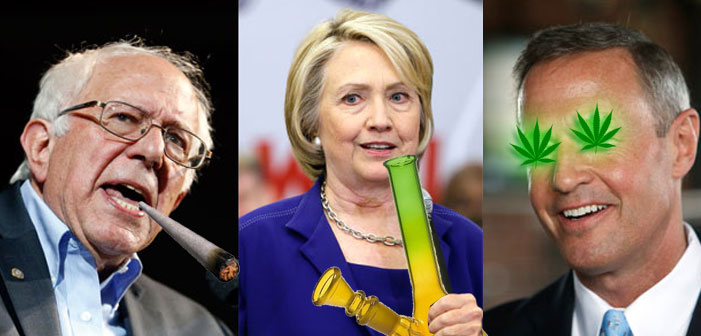 Bernie Sanders, Hillary Clinton, Martin O'Malley, weed, marijuana, drugs, joint, bong, pot