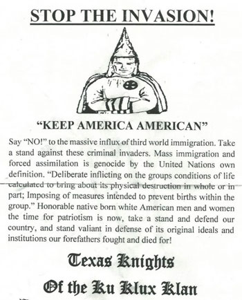 KKK, Ku Klux Klan, recruitment flyer, east Texas, Van Zandt county, Wills Point, Edgewood, Fruitvale