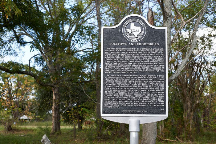 Poletown, Grand Saline, historical marker, woods
