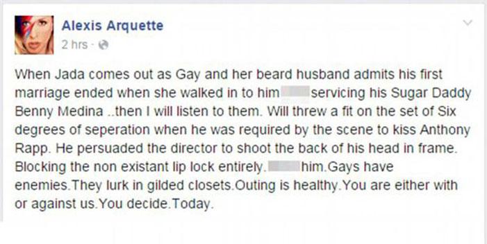 Alexis Arquette, Facebook, post, Will Smith, Jada Pinkett-Smith, gay