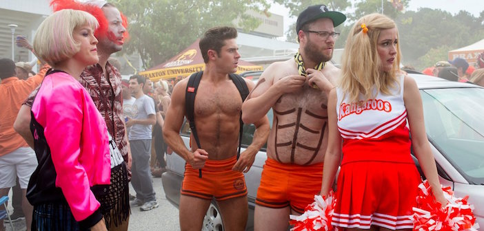 Shirtless Zac Efron in skimpy shorts, from Neighbors 2