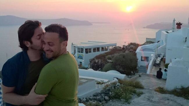 David and Marco Bulmer-Rizzi at their wedding in Santorini