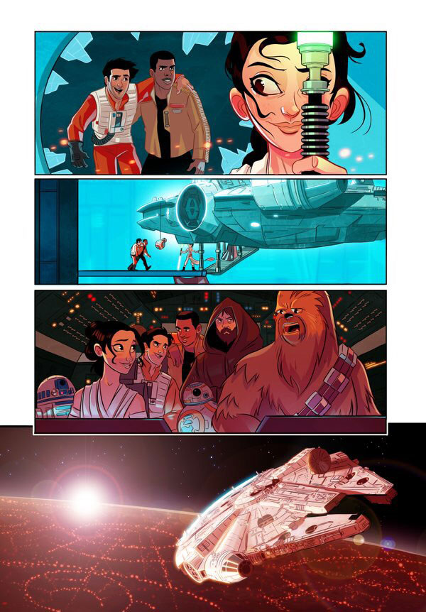 Poe Dameron, Finn, Rey, BB8, Jar Jar, Star Wars, The Force Awakens, part 7, part 7.5, cartoon, comic, Chewbacca, Luke Skywalker
