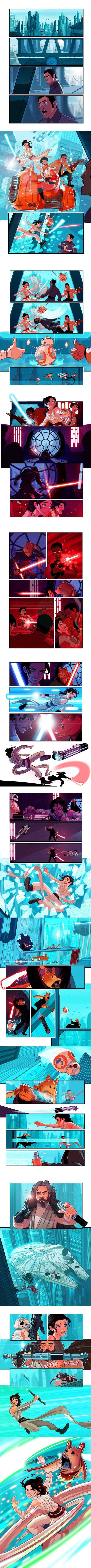 Poe Dameron, Finn, Rey, BB8, Jar Jar, Star Wars, The Force Awakens, part 7, part 7.5, cartoon, comic,