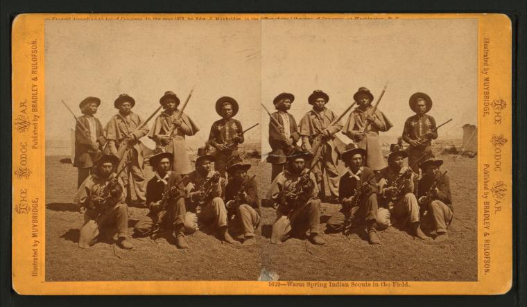 Muybridge stereograph of California Indian scouts