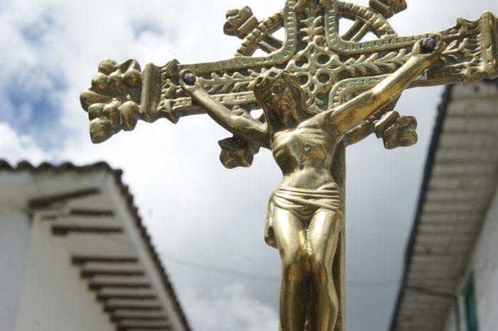 close-up of gold crucifix