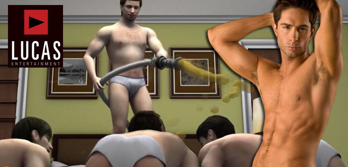 Michael Lucas, Lucas Entertainment, porn, cartoon, animation, pee, gross