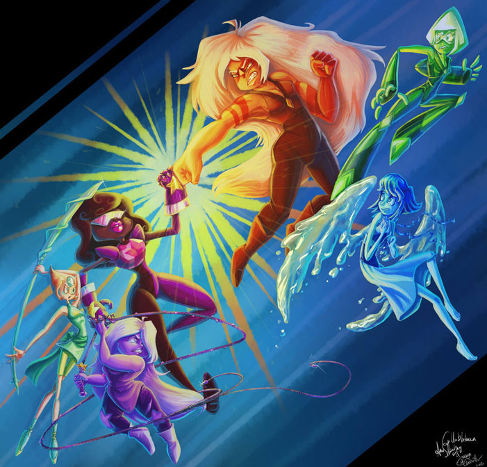 Steven Universe, fan art, cartoon network, sci-fi, fanart, Amethyst, Garnet, Pearl, Ruby, characters