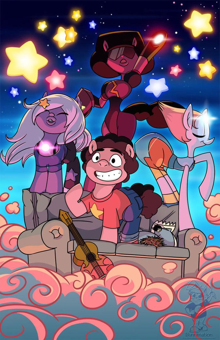 Steven Universe, fan art, cartoon network, sci-fi, fanart, Amethyst, Garnet, Pearl, Ruby, characters, My Little Pony, crossover