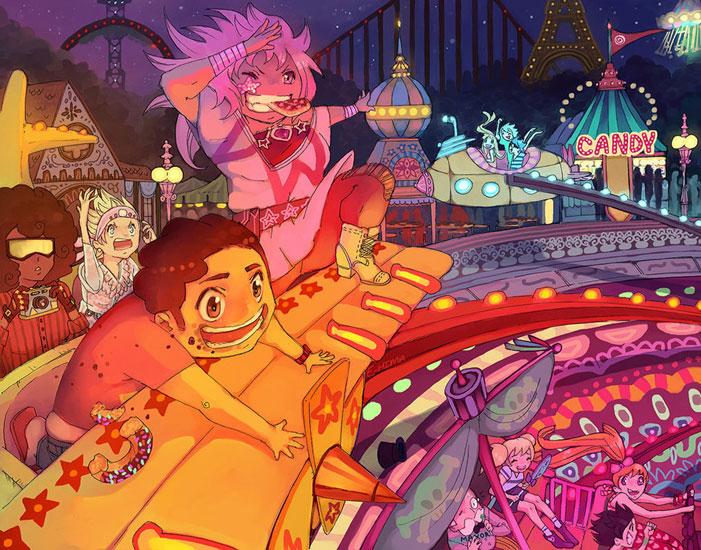 Steven Universe, fan art, cartoon network, sci-fi, fanart, Amethyst, Garnet, Pearl, Ruby