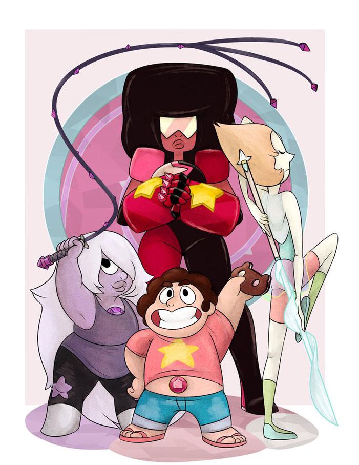 Steven Universe, fan art, cartoon network, sci-fi, fanart, Garnet, Pearl, Amethyst, Ruby