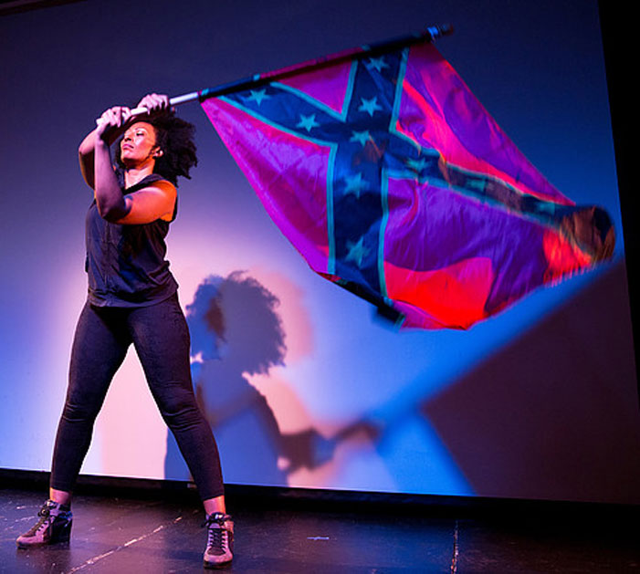 rebel flag, black, woman, confederate, Y'all Come Back, South, Southern, queers, LGBT, play, performance, theatre