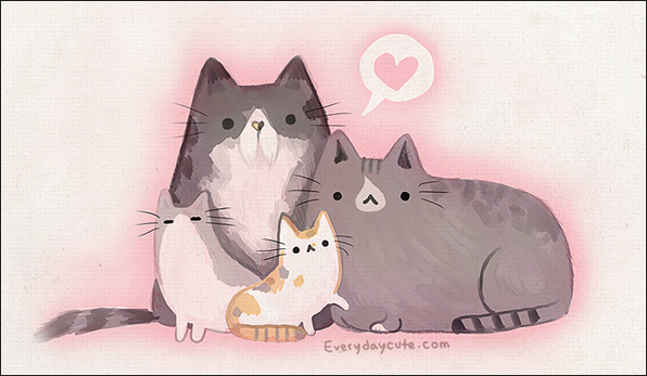 pusheen history, The Cat Family: Wommy, Pusheen, Beebs & Socks. (June 7th, 2010 — Claire Belton)