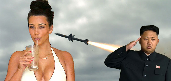 Kim Kardashian, Kim Jung Il, North Korea, missile, shoot