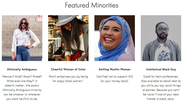 Arwa Mahdawi, Rent A Minority, website, satire, satirical, black, muslim,