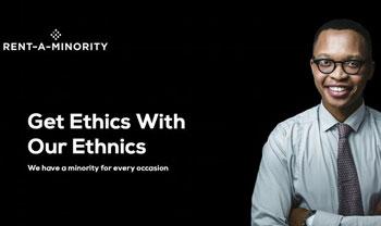 Arwa Mahdawi, Rent A Minority, website, satire, satirical, Black, african-american