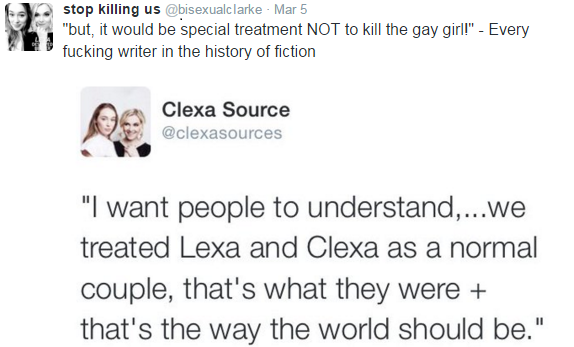 stop killing us, the 100, lesbian death syndrome, tv