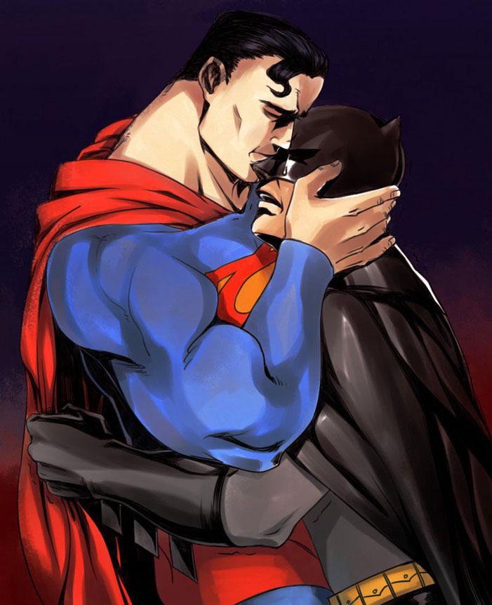 Superman, Batman, gay, superheroes, kiss, love, romance, shipping, comics, queer, homosexual, homo