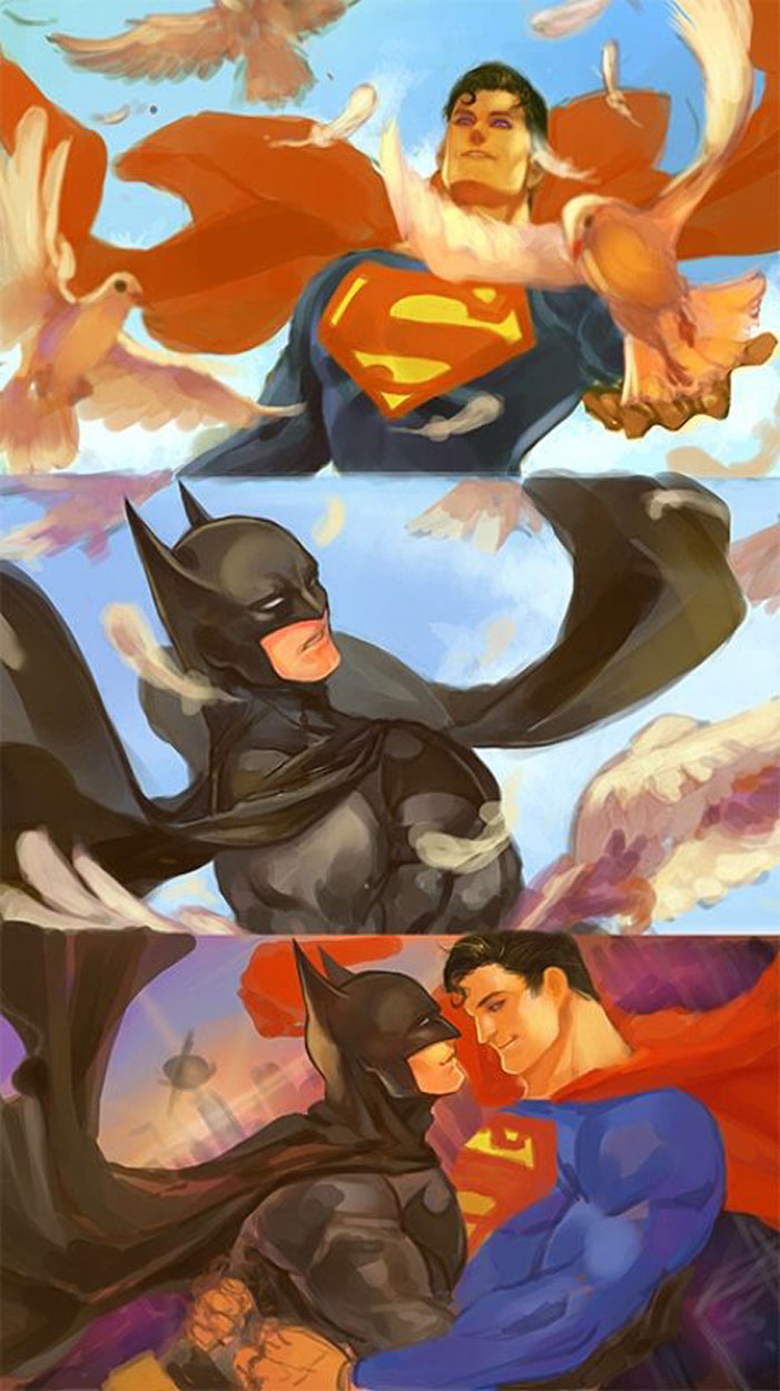 Superman, Batman, gay, superheroes, kiss, love, romance, shipping, comics, queer, homosexual, homo, romance
