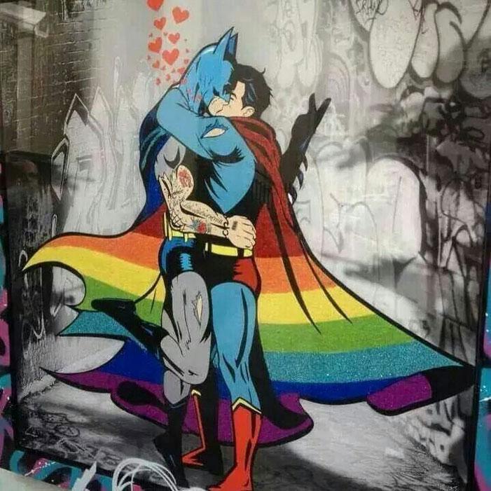 Superman, Batman, gay, superheroes, kiss, love, romance, shipping, comics, queer, homosexual, homo, romance, rainbow, cape