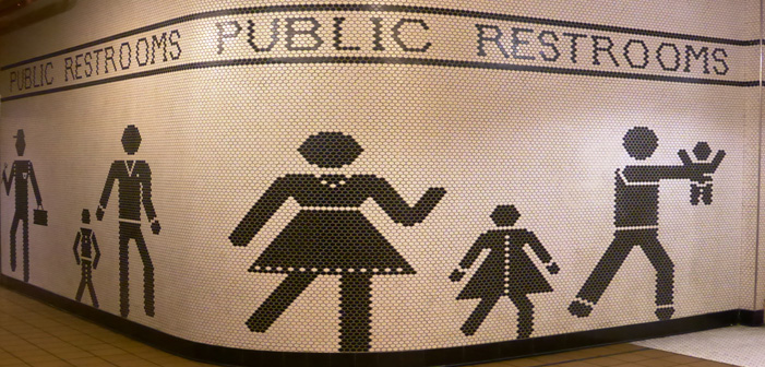 bathroom, public restrooms, Seattle, mosaic, mural, woman, man, child, transgender