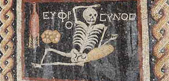 ancient mosaic, Turkey, Greek, Greece, Rome, YOLO, skeleton, wine, bread