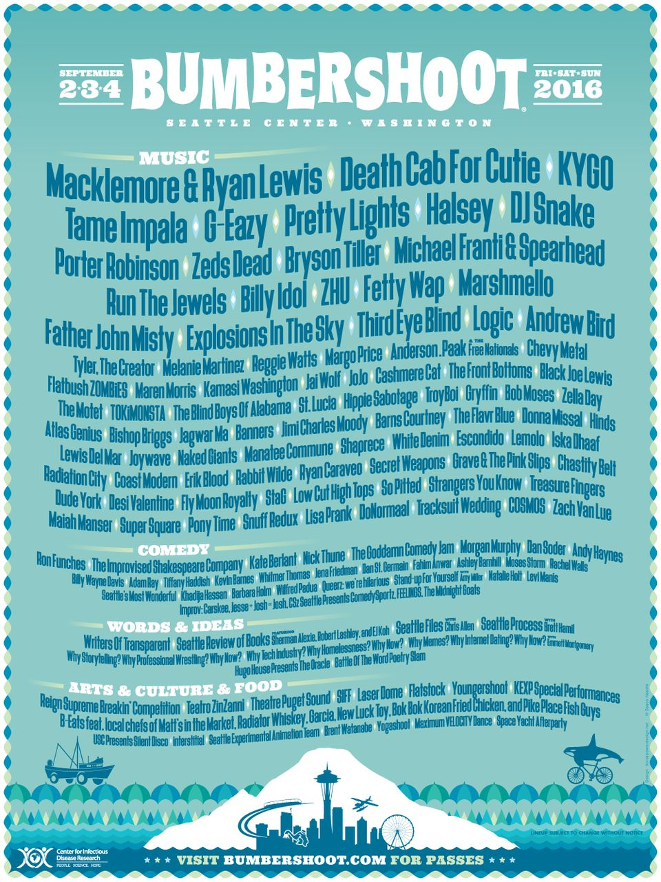 Bumbershoot, Macklemore, Death Cab For Cutie, Ron Funches