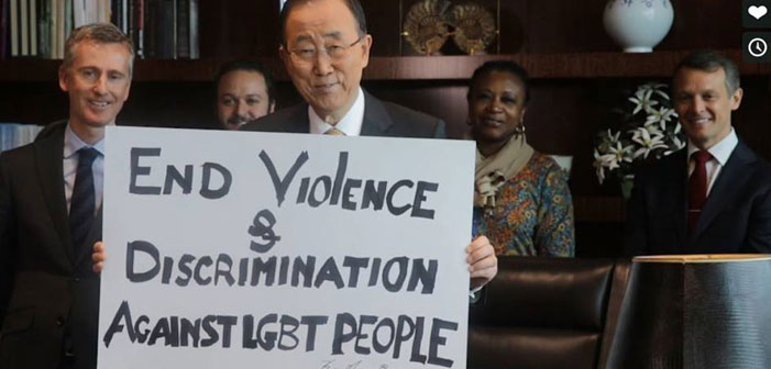 Ban Ki-Moon, United Nations, End violence and discrimination against LGBT, people, campaign message