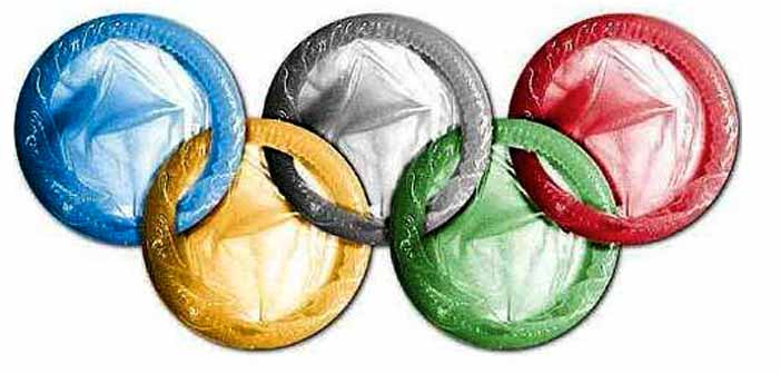 Olympics, Olympic rings, sex, condoms, safe sex, HIV