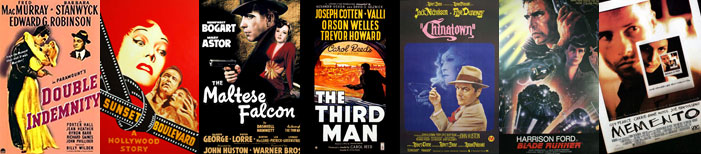 film noir, movie posters, The Maltese Falcon, The Third Man, Double Indemnity, Chinatown, Sunset Boulevard, Blade Runner