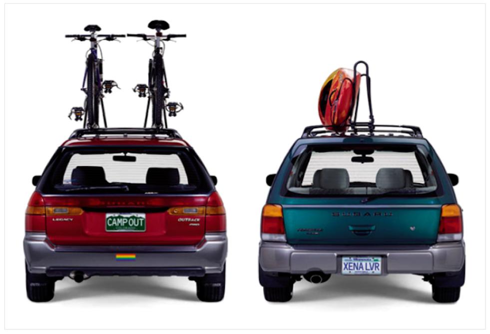 Subaru gay ads, subaru, lesbaru, gay, lesbian, license plate ads
