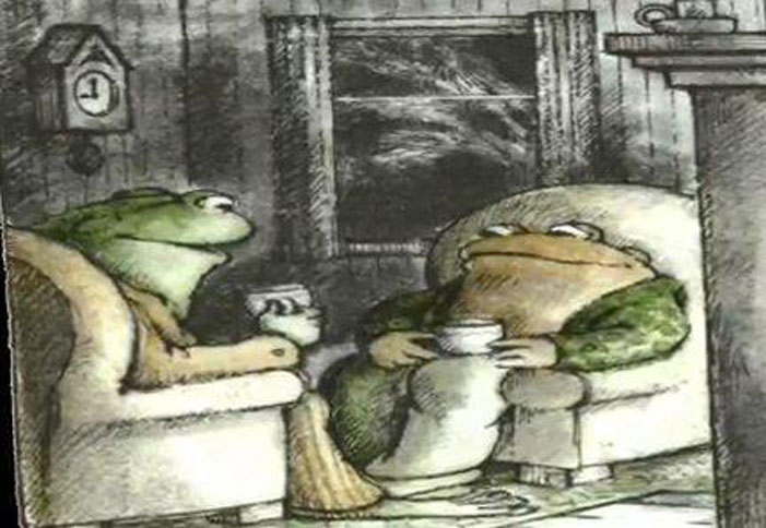 Frog and Toad, children's book, Arnold Lobel, gay, illustration, drawing, drinking, tea, coffee, late night