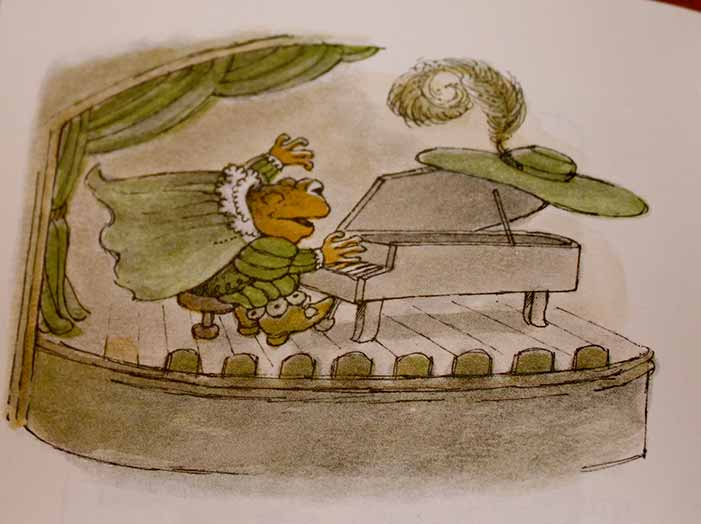 Frog and Toad, children's book, Arnold Lobel, gay, illustration, drawing, piano, playing, theatre, show, concert