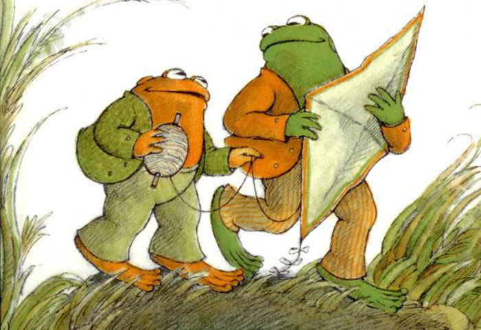 Frog and Toad, children's book, Arnold Lobel, gay, illustration, drawing, kite, flying, glances