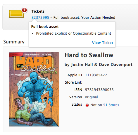 Apple's rejection of HARD TO SWALLOW on iBooks