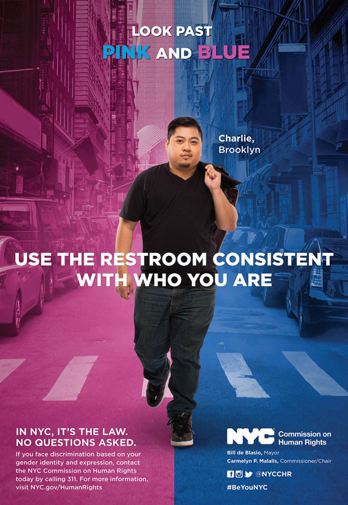 Transgender, NYC, human rights commission, bathroom, poster, campaign, Charles Solidum