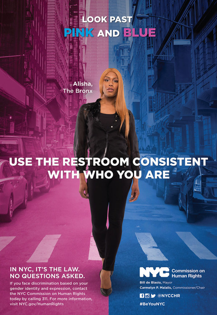 Transgender, NYC, human rights commission, bathroom, poster, campaign, Alisha King