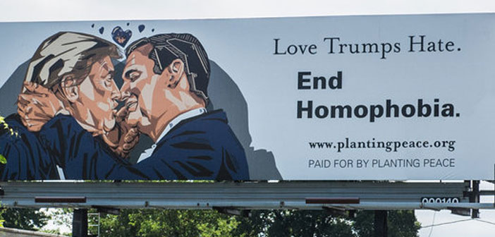 Donald Trump, Ted Cruz, kissing, billboard, Cleveland, homophobia, RNC, Republican National Committee, kiss, smooch