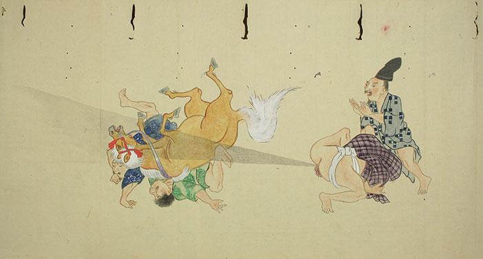 Japanese, Japan, fart, pass gas, break wind, cut cheese, scroll, ancient, art history, ass, battle, fight