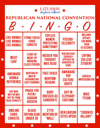 RNC bingo card, Republican National Convention, Late Night with Stephen Colbert, Stephen Bolbert, Satire, GOP, #RNCinCLE